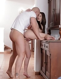 Cock Craving Spinner Krissie Gives Her Man A Wild Bald Pussy Ride In The Kitchen In This Raunchy Har