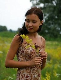 Tremendous Striking Teen Is Having A Walk In The Birch Forest And Lolls About In The Flower Valley W