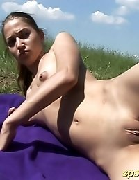 Horny instructor spreads naked gymnast's buttocks alfresco