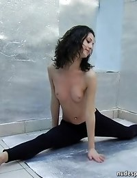 Red-hot yoga girl does some postures