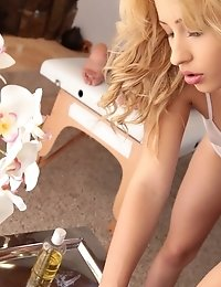 Blonde Babe Violet Dresses In A Sheer Leotard And Gives Her Man A Massage Before Mounting Him For A