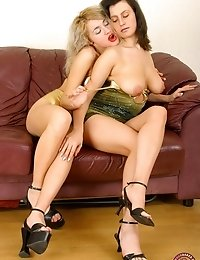 Young Lesbian Whores Get Dirty On The Couch
