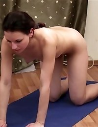 Bare yoga exercises done at home