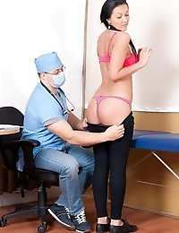 BDSM gynecologist examines and washes a pussy