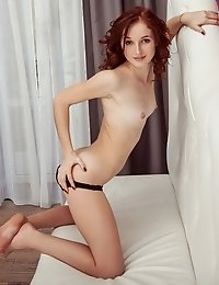This Blazing Red Haired Cock Gobbler Has Some Stunning Shapes To Show Off And She Strips Completely