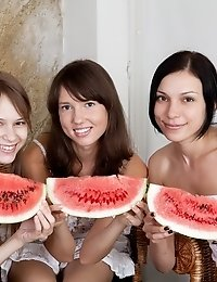 Three Teen Cuties Get Nude And Eat Some Watermelon Covering Their Hot Bodies With Juice.