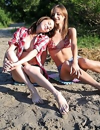 Awesome Fresh Looking Teen Chicks Give The Nature What It Need. Naughty Games On The Sandy Beach In