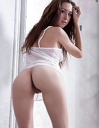 Amazing Long Haired Brunette With Super Elastic Body Shows The Precious Parts Of Her Lovely Fresh Bo