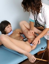 Excited doctor with vibratos helps a girl cum