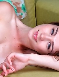 Curly Haired Teen Strips Off Her Sexy Summer Outfit And Gets Comfortable On The Couch To Spread Her