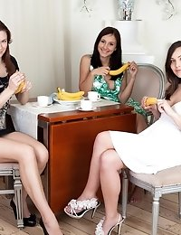Three Yummy Babes Showing Their Love For Bananas And Presenting Their Gorgeous Nude Bodies.