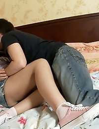 Brunette Teen With Shaved Pussy And Asshole Sucks Cock And Gets Fucked Hard On The Bed.